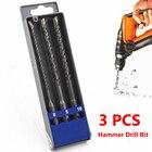 3Pcs 6/8/10mm SDS Plus Hole Saw Drilling Electric Crosshead Twist Spiral Hammer Drill Bits for Wall Concrete Brick Block Masonry