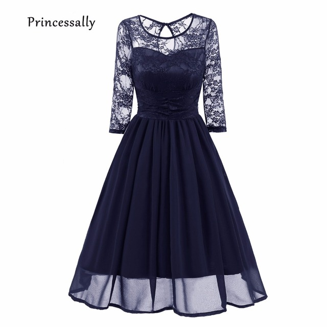 Robe De Soriee New Bridesmaid Dresses Short Navy Blue Lace Long Sleeve Elegant Fall Winter Purple