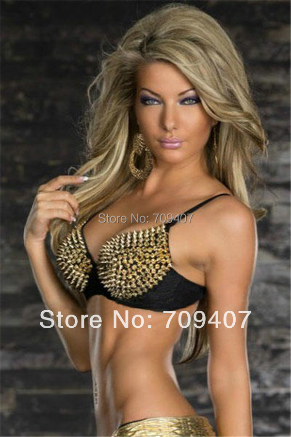 Online Shop Most Sexy bra Good Quality Gothic spike rivets metal ...