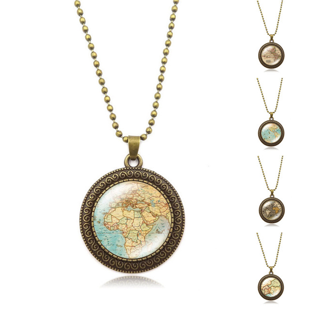Vintage jewelry globe map necklaces pendants planet earth world vintage jewelry globe map necklaces pendants planet earth world map art glass dome pendant bronze gumiabroncs Gallery