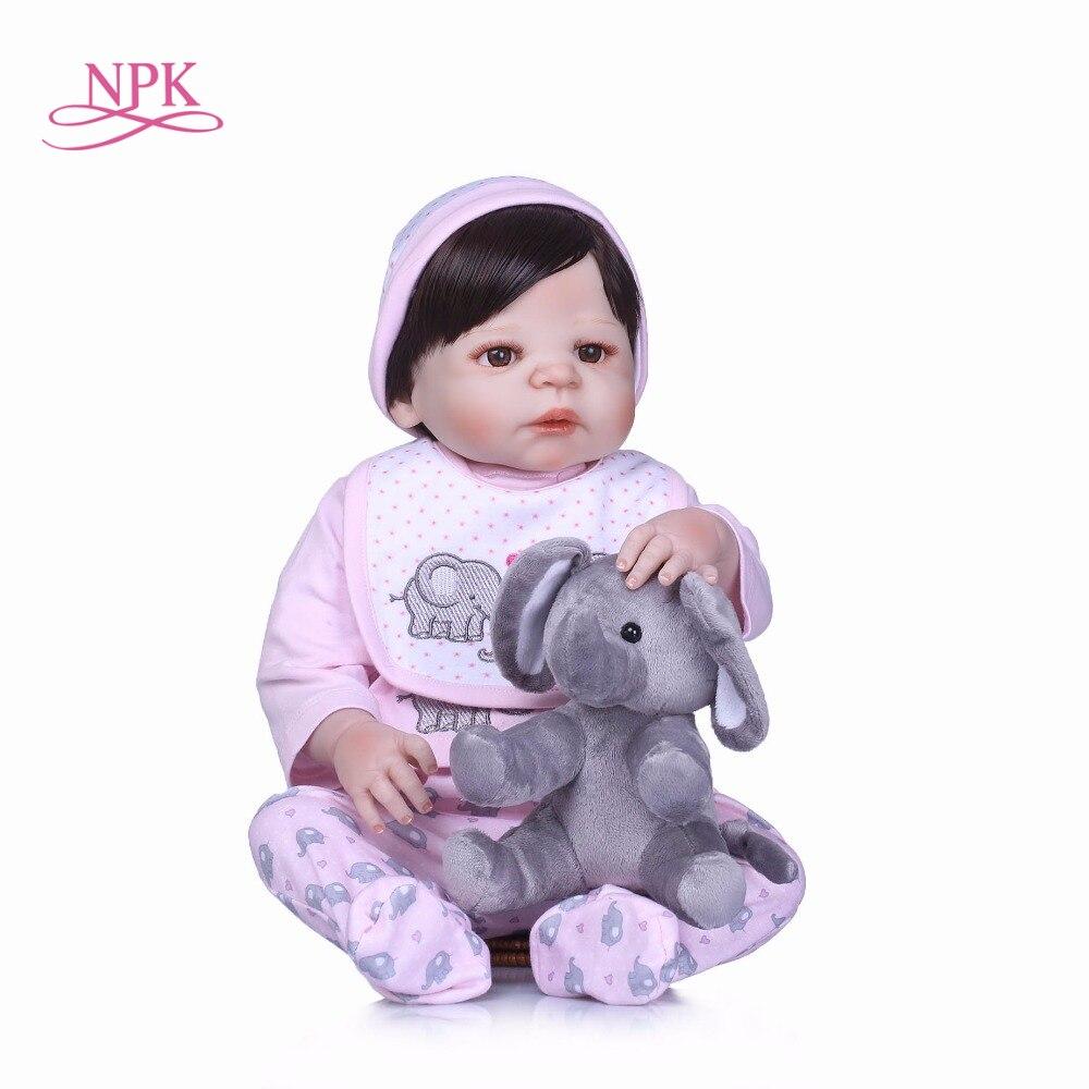 NPK 56CM Real Full Silicone Body Girl Reborn Baby Girl Doll Toys Realistic Newborn Princess Babies