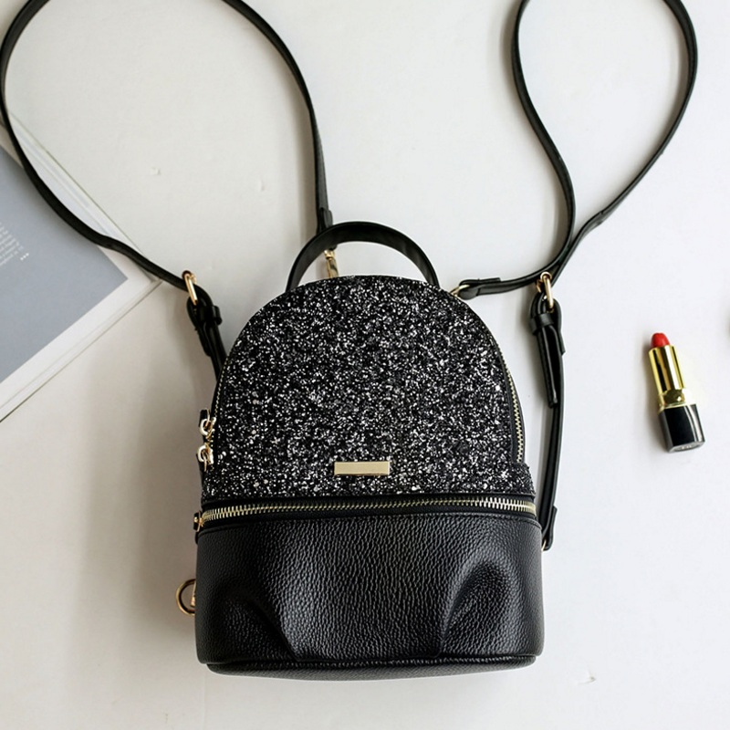 Black Dragonfly Sequins Backpack Teenage Girls Small Travel Rucksack Women All match Daypack Leather Princess Bling School Bags