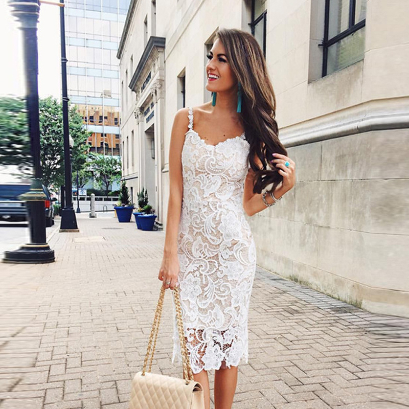 2019 Women Summer Sleeveless Bodycon Sexy Long Midi Dress Ladies V Neck Solid Elegant Lace Sundress New