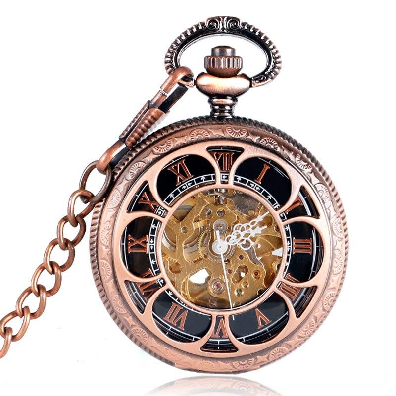 New Arrival Vintage Skeleton Flower Design Pocket Watch Chain Automatic Mechanical Fob Clock Men Women Roman Numbers Gift P2049C