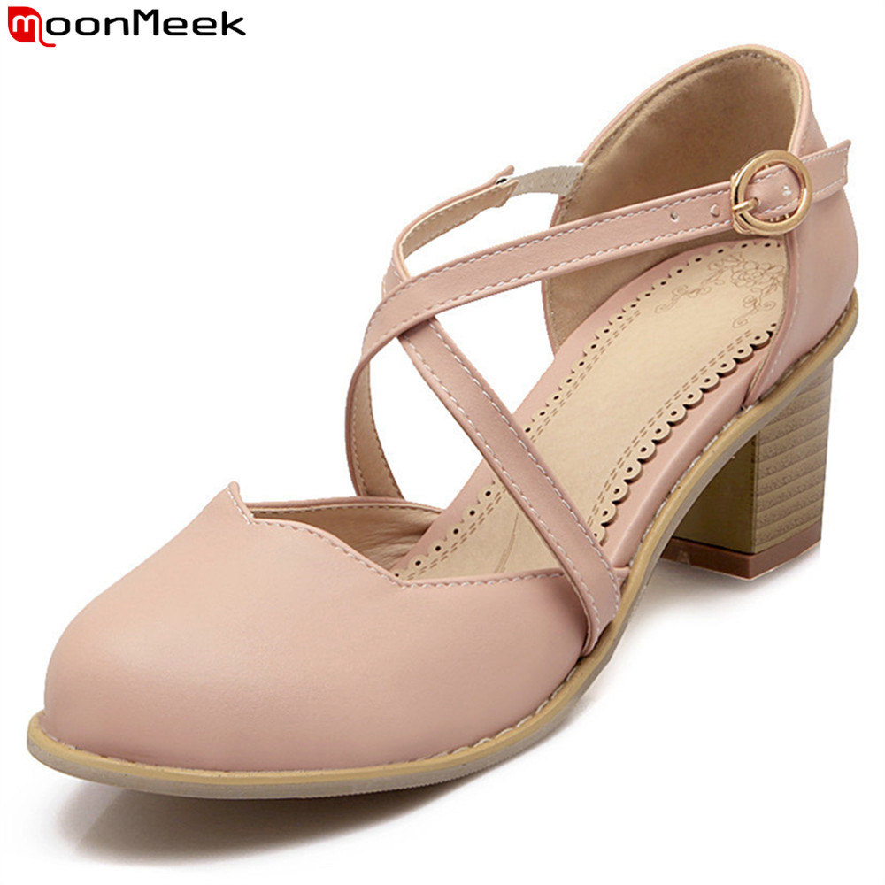 MoonMeek summer spring new arrival round toe high heels pumps women shoes square heel with buckle sweet ladies shoes