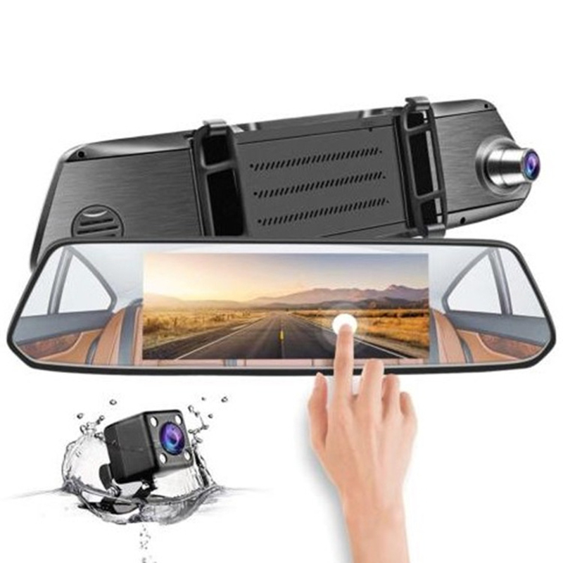 DVR Driving-Recorder Touch-Mirror Dash-Cam Rear-View-Camera Glass Double-Lens 1080P 7inch