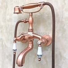 Bathroom Antique Red Copper Wall Mounted Bathtub Faucet Dual Ceramic Handle Shower Mixer Tap with Handheld Shower Spray ltf802 wall mounted 8 in shower faucet bathroom ceramic handheld single handle hot