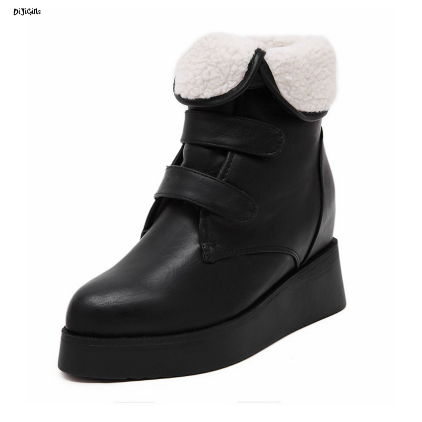 Women Fashion Platform Fur Ankle Boots High Wedges Heels Woman Booties Pumps Shoes For Winter HYL1818 strange heel women ankle boots genuine leather elastic booties wedge shoes woman high heels slip on women platform pumps