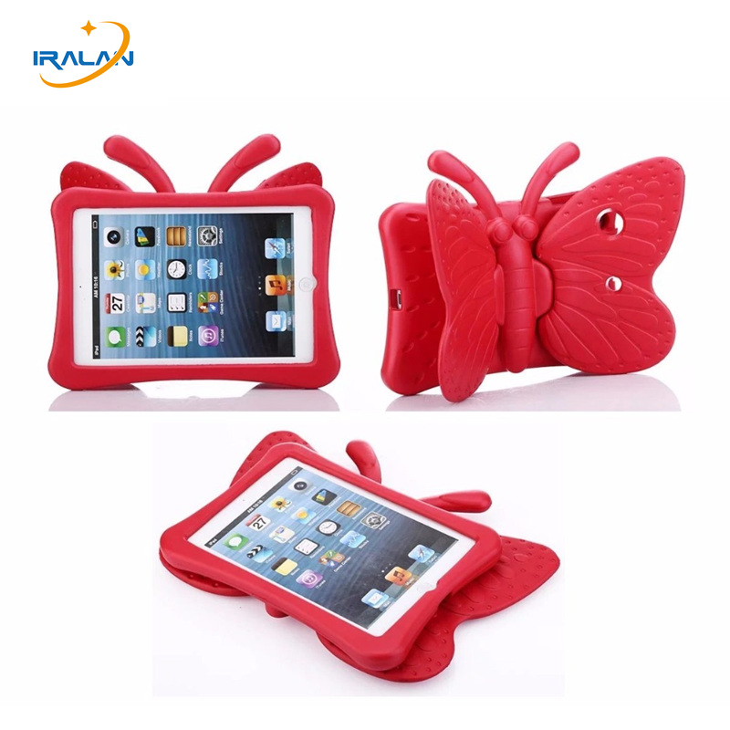 Kids Cute Butterfly Shockproof safe Stand Cover for new iPad 2017/2018 9.7 inch Children Tablet back with Handle case+flim+pen