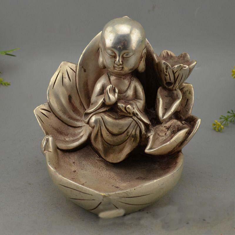 Tibet Tibetan Buddhism temple Silver Lucky Sit lotus flower Sudhana Buddha
