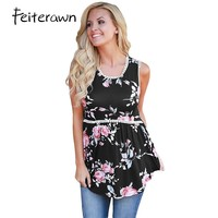 Feiterawn 2017 Summer Sexy Women Fashion High Street Tank Black Floral Pompom Lace Trim Flowy Tank
