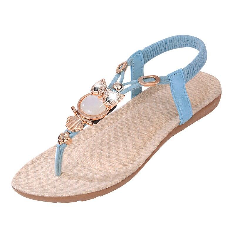 Hot Sale 2017 New Fashion Women Sandals Beaded Ladies Flip Flops Bohemia Woman Shoes Comfort Beach Summer Flat Sandals