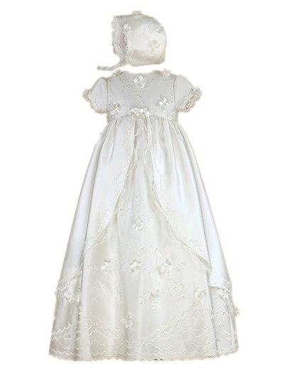 Здесь продается  Enchanting Baby Girl Baptism Gown 0-24month Christening Dress Robe Toddler Flower Lace Applique WITH BONNET  Детские товары