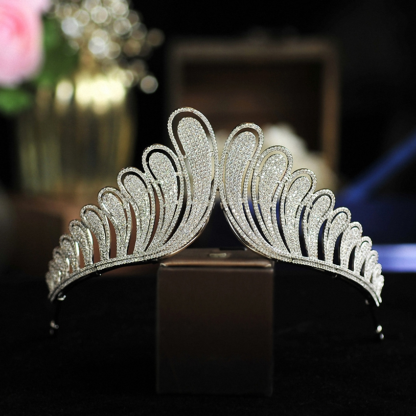 Wedding Hair Accessory Zircon Crystal Tiaras Crowns Silver Evening Hairbands Bridal Hair Jewelry Silver HeadPiece mi happiness red bride wedding hair tiaras gorgeous hair jewelry hanfu costume hair accessory