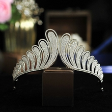 Wedding Hair Accessory Zircon Crystal Tiaras Crowns  Silver Evening Hairbands  Bridal Hair Jewelry Silver HeadPiece