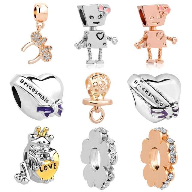 33b6fd874 Rose gold silver Bella bot Minnie pendant bead fit European&USA Pandora  charms original bracelet for women