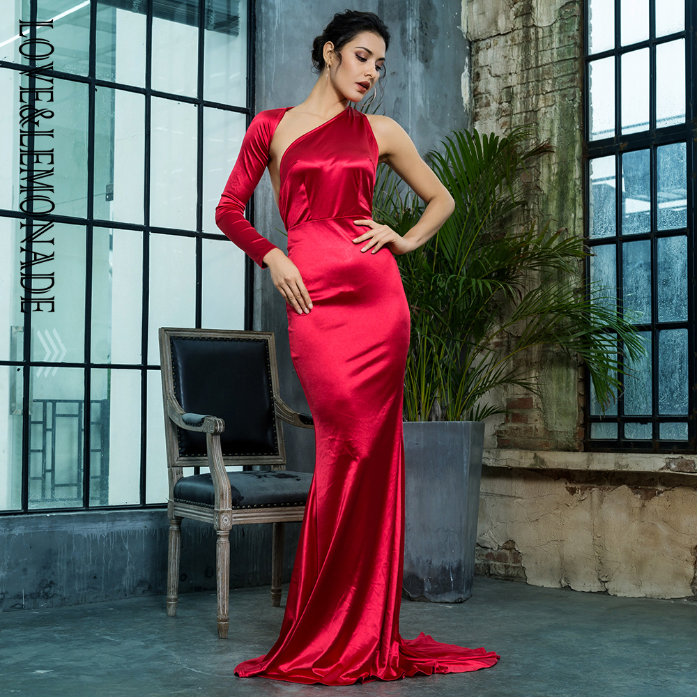 Love Lemonade Sexy Open Back Separate Sleeve Elastic Material Long Dress LM81333RED