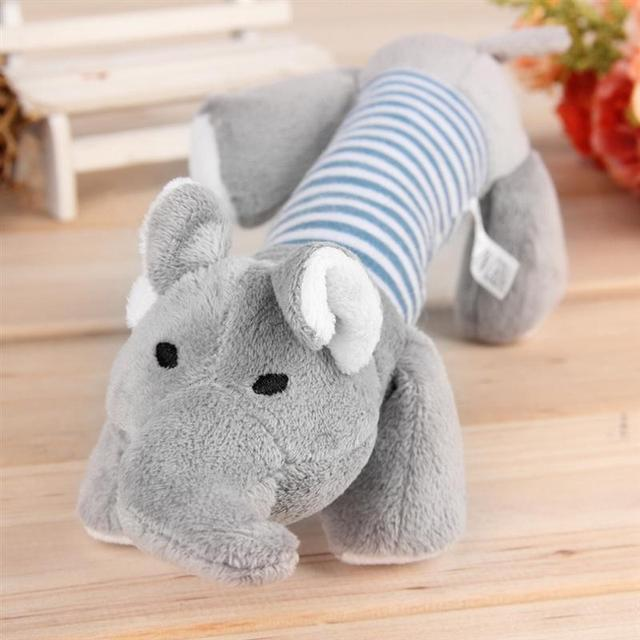 Dog Toys 3 Designs Sound Pet Puppy Chew Squeaker Toys For Perro Cotton Plush Sound Duck Pig Elephant Pink Grey Goods For Dogs