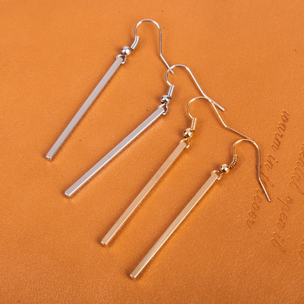 JUCHAO Elegant Cube Long Earrings Personality Simple Rectangular Geometric Earrings for Women Gold Silver Color Wedding Jewelry