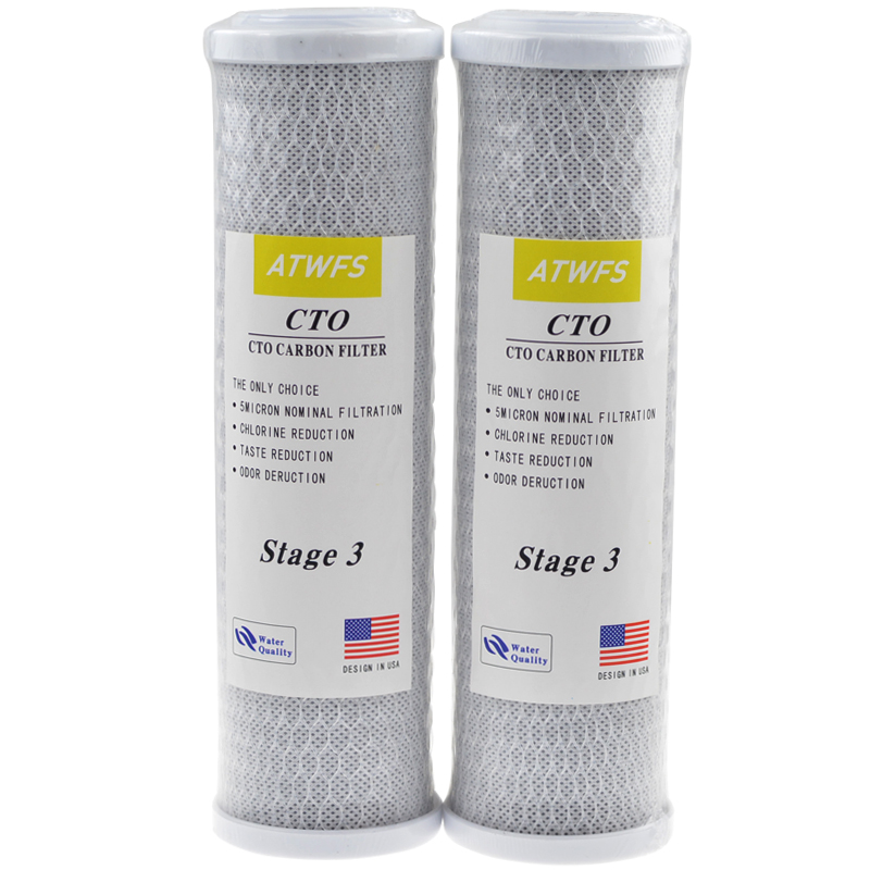 ATWFS 2pcs 10 Inch Block Carbon Filter Water Purification Universal Water Filter Activated Carbon Cartridge Reverse Osmosis 2pcs 20 universal water filter activated carbon cartridge filter 20 inch cto block carbon filter water purifier