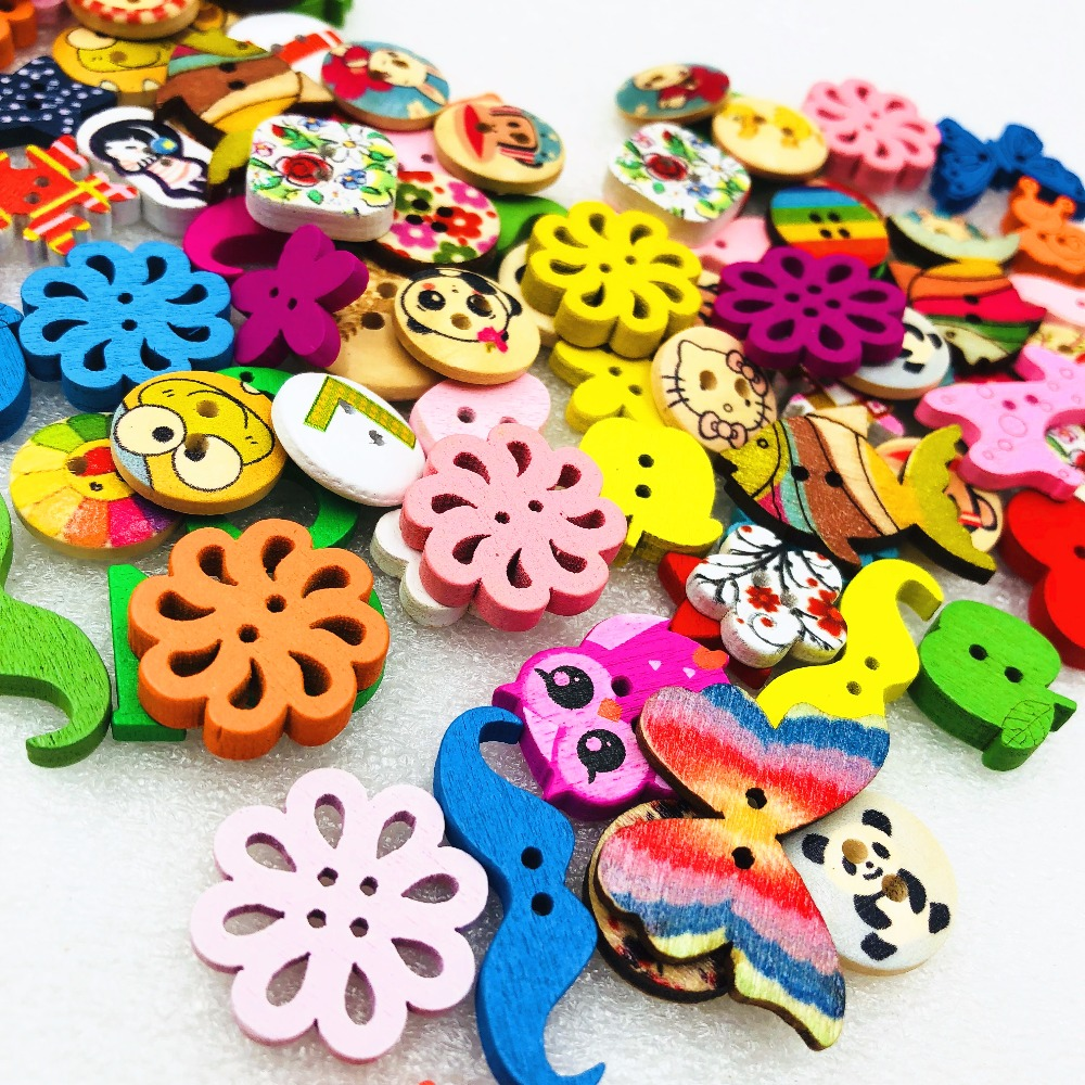 Apparel Accessories Mixed Wooden Buttons Scrapbooking Accessories 2 Holes 4 Holes Buttons For Crafts Sewing Accessories