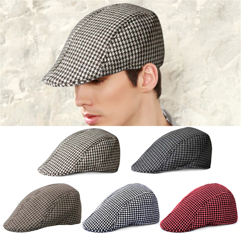 2108ff98c84 2019 Simple Houndstooth Pattern Outdoor Warm Keeping Golf Beret Flat ...