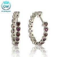 2016 Trendy Red Heart Cz Earrings 925 Sterling Silver Hoop Earrings High Quality Wedding Brand GW Jewellery Er1022