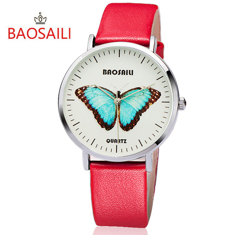 Baosaili топ фирменных бабочка длительный Батарея Водонепроницаемость Дизайн позолота случае серии Для женщин кварцевые часы bs1017