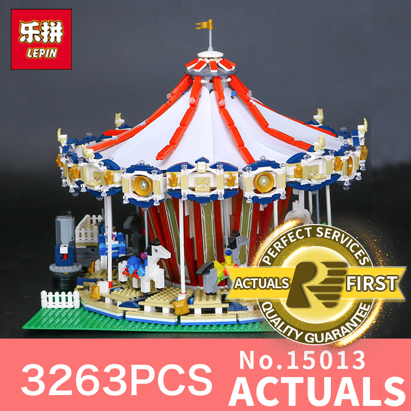 3263Pcs Lepin 15013 City Street Carousel Model Building Kits Assembling Blocks Toy Compatible with 10196 for Educational Toys new lepin 16008 cinderella princess castle city model building block kid educational toys for children gift compatible 71040