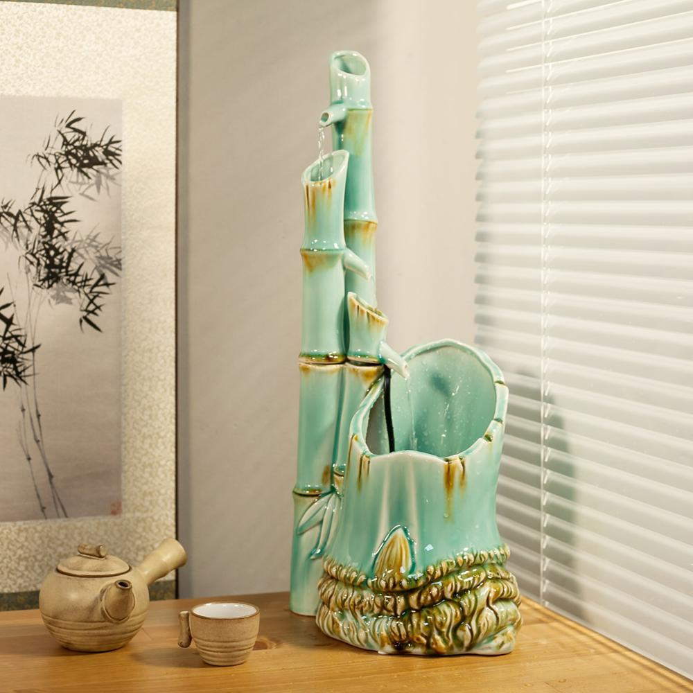 Fish tank for the office - Ceramic Decoration Feng Shui Water Round Bamboo Creative Living Room Office Desktop Fountain Humidifier Small Fish