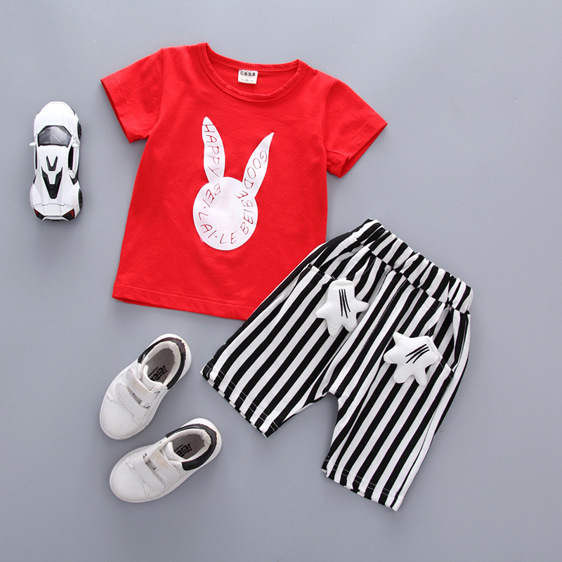 Baby Girl Summer Clothes Korean Cute Rabbits Leisure Short Sleeved T-shirt Tops Shorts Infant Clothing Kids Bebes Jogging Suits