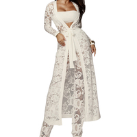 Summer Sheer Floral Lace Outfits Long Kimono Cardigan and Wide Leg Pants Suits Sexy See Through Women Two Piece Set Long Coats