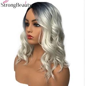 Image 2 - Strongbeauty 합성 가발 여성 가발 긴 물결 모양의 회색 가발 드래그 여왕가 발 hairpieces 여성을위한