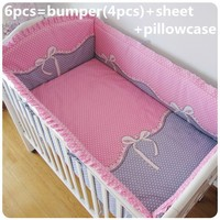 Promotion 6 7PCS Baby Crib Bedding Set For Girls Boys Cartoon Newborn Baby Bed Linen Cot