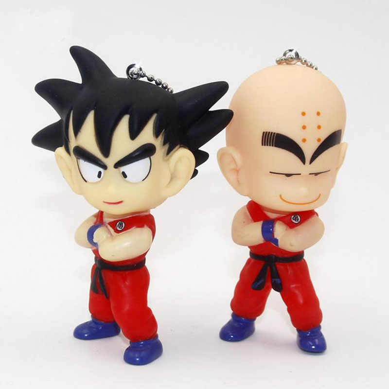 1 Pcs Kawaii Anime Japonês Dragon Ball Goku Dragon Ball Kuririn Mini Figuras Da Boneca Chaveiro Pingente Bonito Brinquedos Para crianças