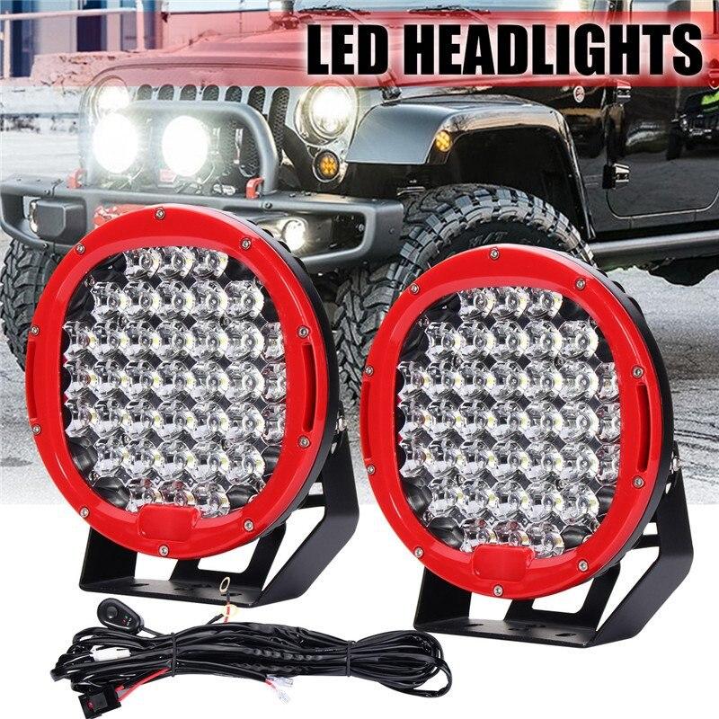 2шт 9-дюймовый 370 Вт LED круглый свет работы наводнение пятно вождения фары голова лампы 6000K для джип 10-30v с жгут проводов