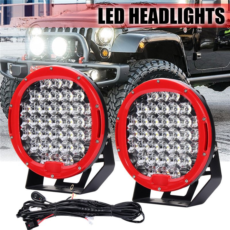 2pcs 9inch 370W LED Round Work Light Spot Flood Driving Headlight Head Lamp 6000K For Jeep Offroad 10-30V With Wiring Harness