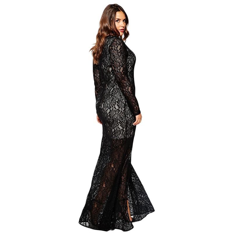 Autumn Winter Women V-neck Full Lace Vintage Big Plus Size 8XL Long Maxi Dress (2)