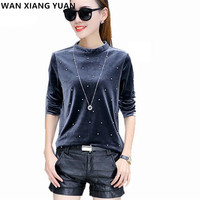 WAN XIANG YUAN Women Blouse 2017 Autumn Studded Beaded Long Sleeve Shirt Women Ladies Velvet Warm