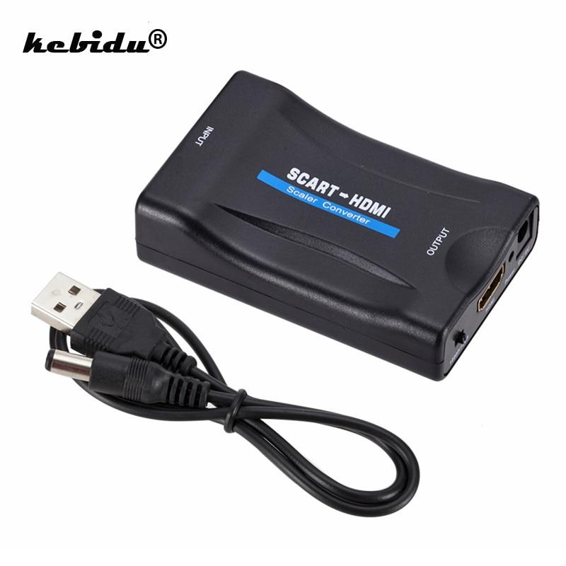 Kebidu 1080P SCART Zu HDMI Video Audio Gehobenen Konverter Adapter für HD TV DVD für Sky Box STB Stecker und Spielen mit DC Kabel