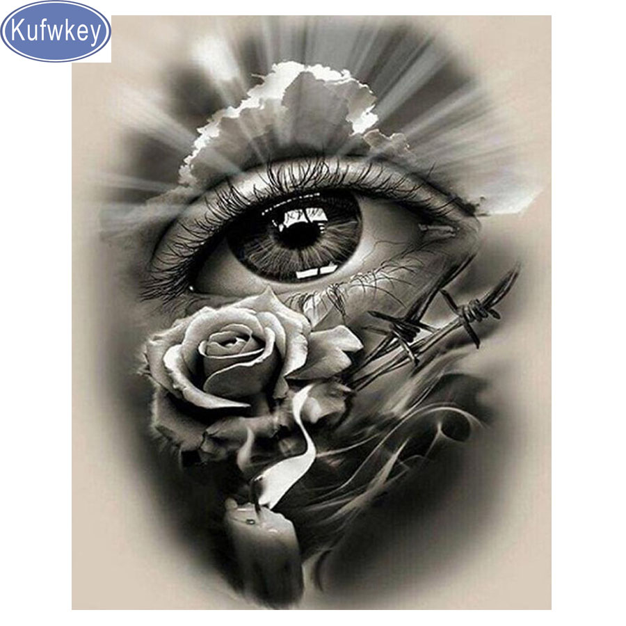 Kufwkey 5d Diamond Painting Completely Icons Diamond Embroidery Black White Eyes Full Square Round Drills Rhinestone Mosaic Rose