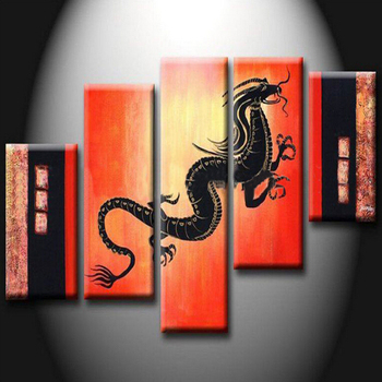 Chinese Special Designed Low Price Abstract Dragon Oil Painting on Canvas Handmade Abstract Black Dragon Oil Painting for Decor