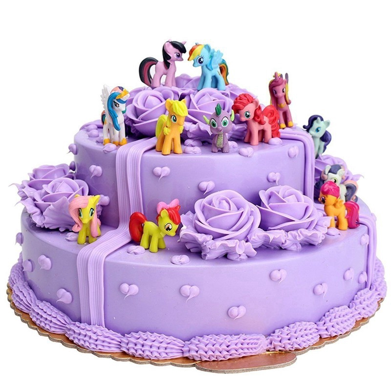 <font><b>12</b></font>/PCS/Set Rain Bow <font><b>Horse</b></font> Unicorn Pony Toy Bundle Cake Topper Decorations <font><b>Figures</b></font> Set Figurines Gifts Christmas Toy image