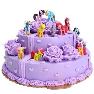 12/PCS/Set Rain Bow Horse Unicorn Pony Toy Bundle Cake Topper Decorations Figures Set Figurines Gifts Christmas Toy(China)