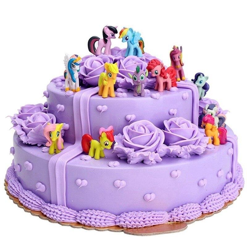 12 Uds./Set de chubasquero, caballo, unicornio, Pony, juguete, conjunto de decoraciones para Tartas, figuras, regalos, juguete de Navidad