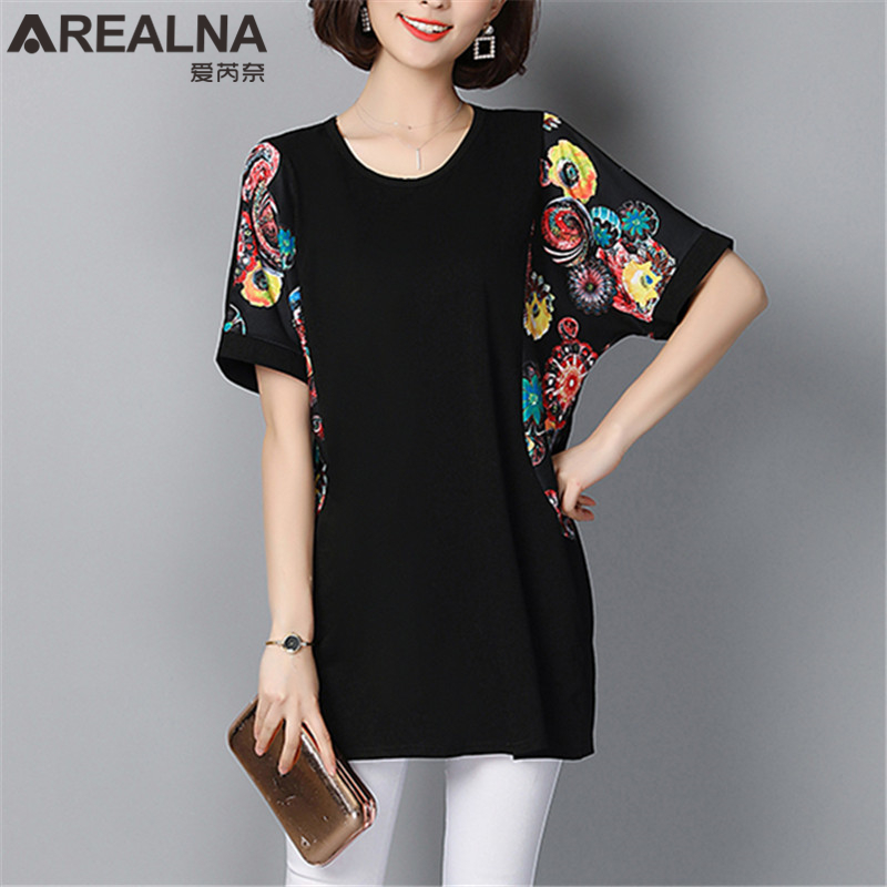 2019 Summer Vintage Print Bat Sleeve Long Womens Tops and   Blouses   Plus Size 5XL Cotton Black   Blouse     Shirt   Short Sleeve Lady Tops