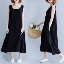 Long dress summer 2019 new solid Sleeveless vest dress beach dress cotton office dress plus size loose dress casual dress black dress dioxide dress