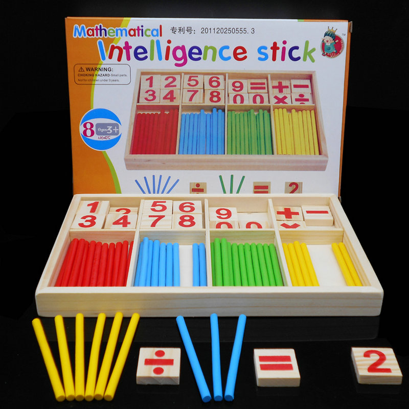 Baby Leker Counting Sticks Utdanning Tre Leker Bygging Intelligence Blocks Montessori Matematisk Wooden Box Chil Gift