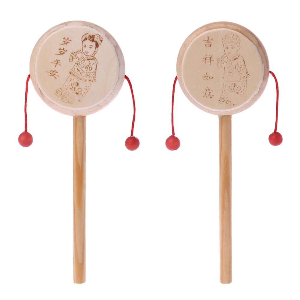 Wood Cartoon Chinese Traditional Spinning Rattle Drum Hand Bell Baby Musical Toy