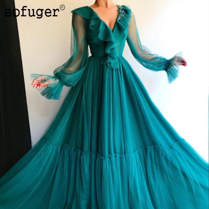 Green Pearls Tulle Puff Sleeves V Neck   Evening     Dress   Prom Vestidos De Fiesta Formal Party   Dress   Arabic Muslim Special Occasion